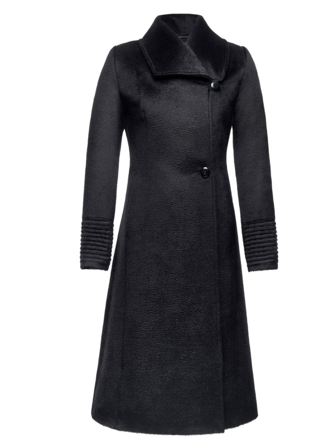 Empire Waist A-Line Coat in Black