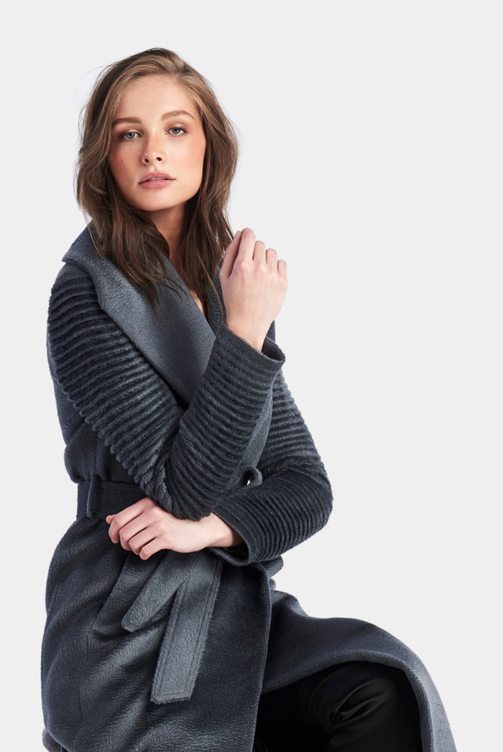 Long Shawl Collar Wrap Coat w/Ribbed Sleeves in Charcoal