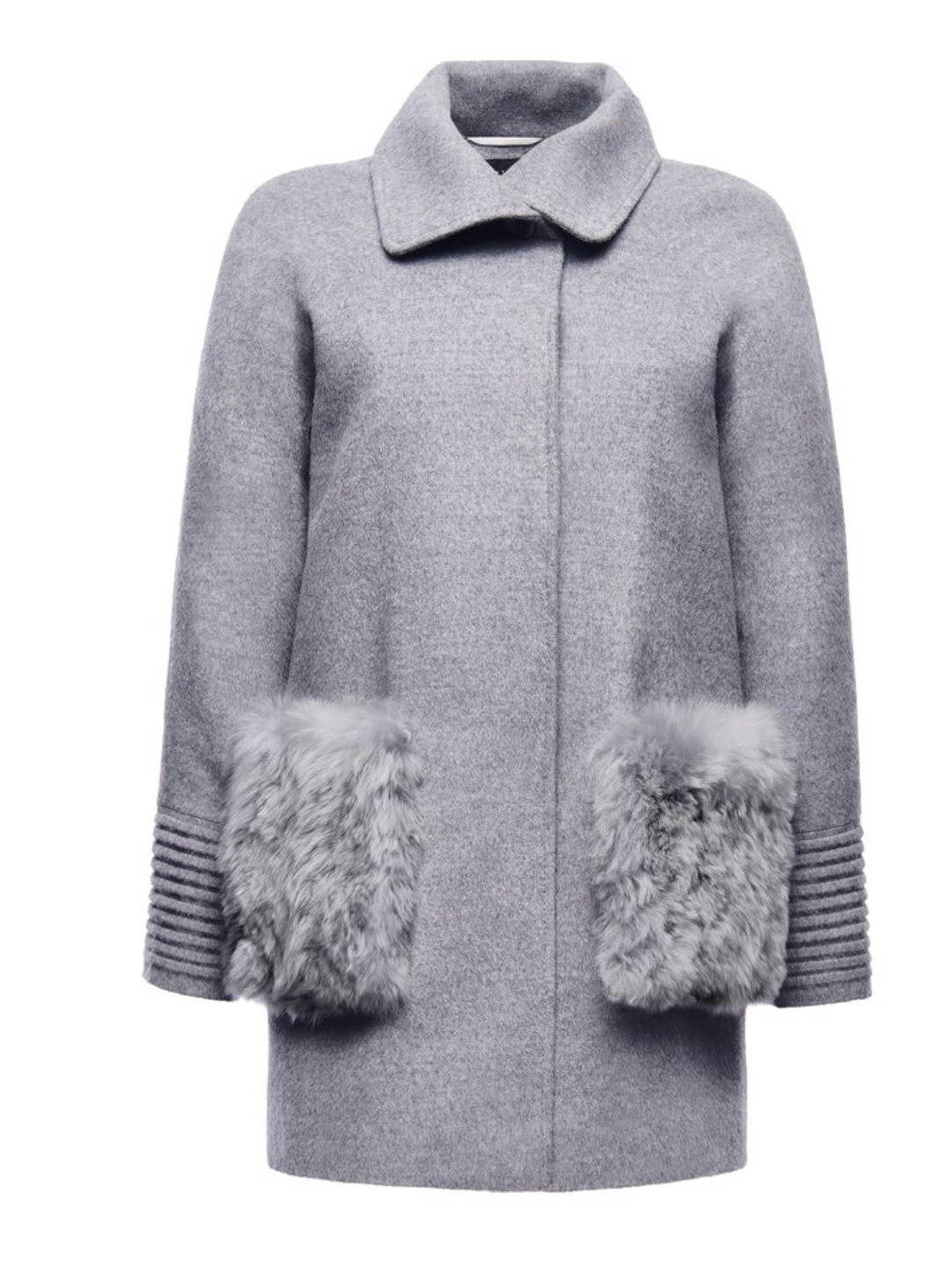 Raglan Sleeve Straight Cut Coat w/Fur Pockets in Shale Grey