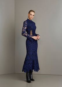 Navy blue lace long sleeves dress