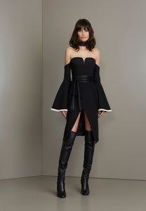 Black with max bell sleeves short dress
