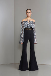 Black with grey peacock print jumpsuit