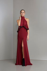 Burgundy halter dress with mini black tassels