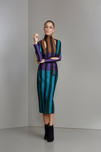 Green purple and brown striped turtle neck dress