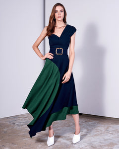 NAVY BLUE & GREEN LINEN DRESS W/ RUFFLE STRAP