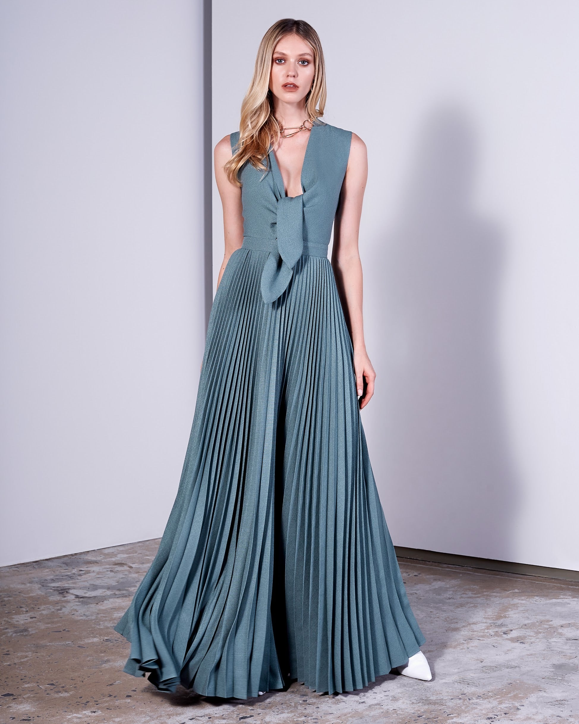 LIGHT BLUE PLEATED GOWN W/ BOW