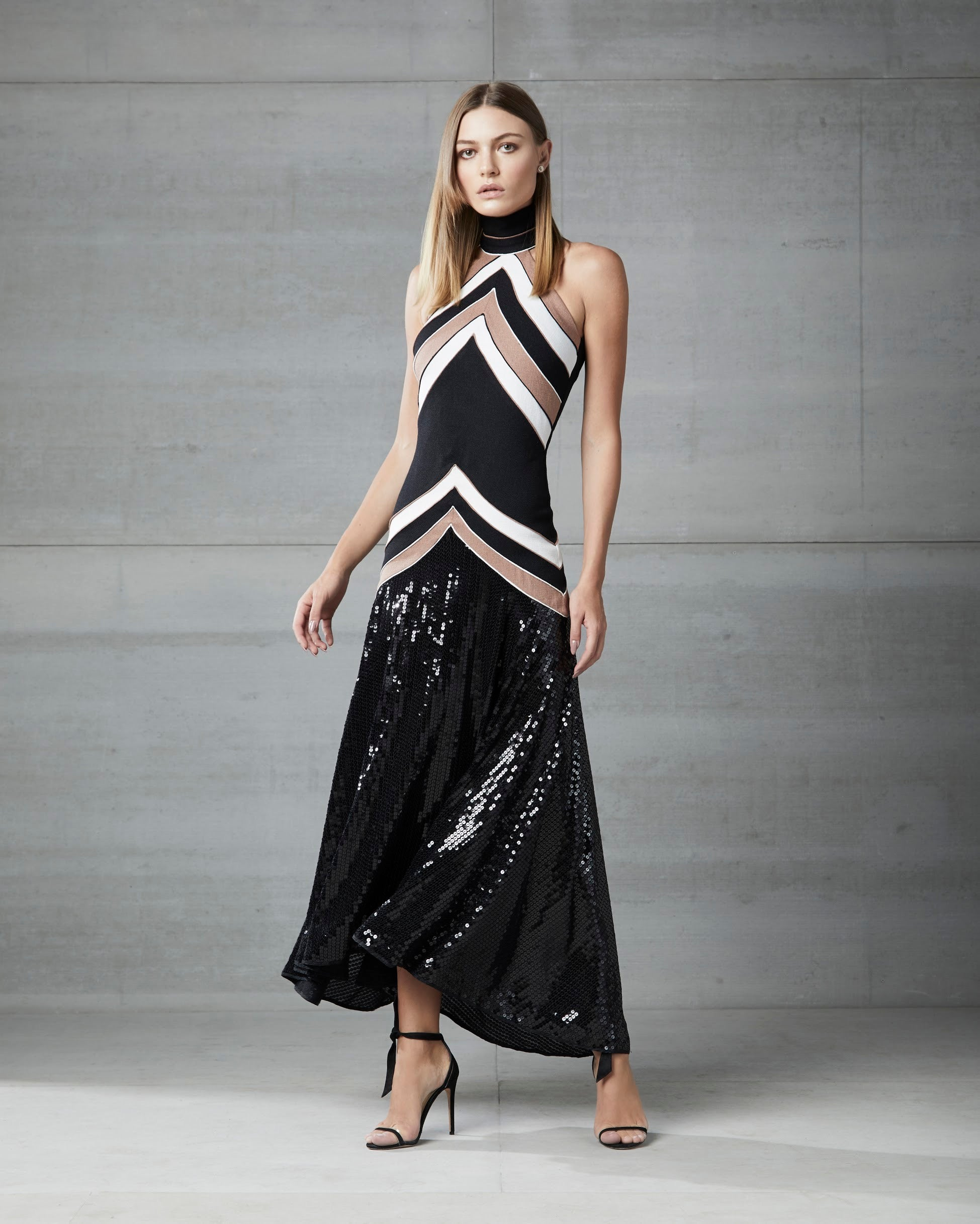 BLACK WHITE & BROWN HALTER LONG DRESS W/ BLACK SEQUIN DETAIL