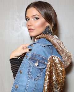 DENIM W/ GOLD SEQUIN SLEEVES JACKET