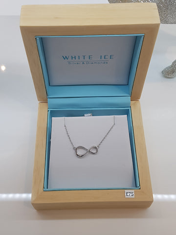 White Ice infinity silver and diamond pendant