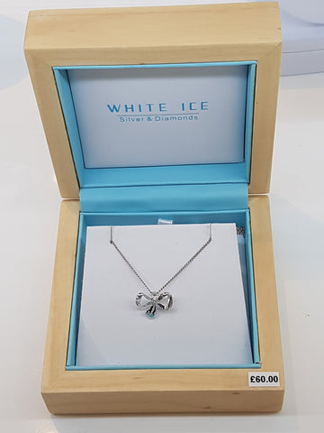 White Ice silver and diamond bow pendant