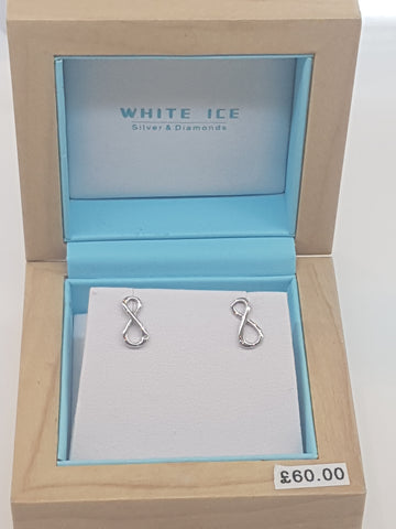 White Ice silver and diamond infinity earrings