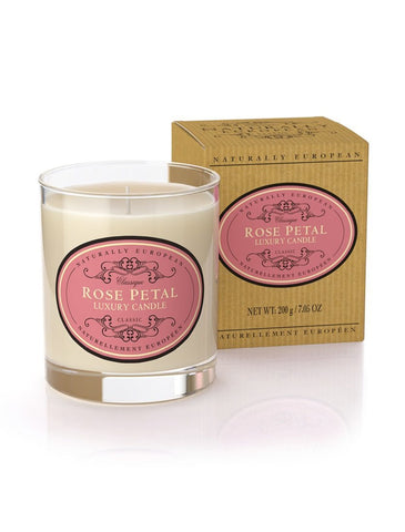 Naturally European Rose Petal Scented Candle