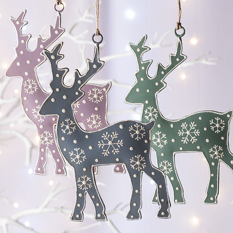 Hand Painted Reindeer Hanging Decoration