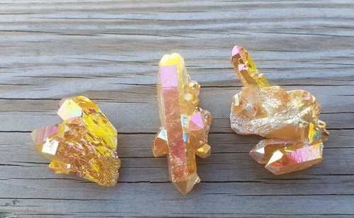 Golden Aura Quartz Cluster