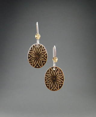Black Goose Egg Shell Jewelry - Oval Flower Earrings