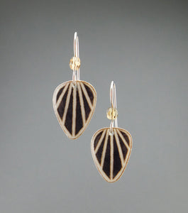 Black Goose Egg Shell Earrings - Raydrops - Small