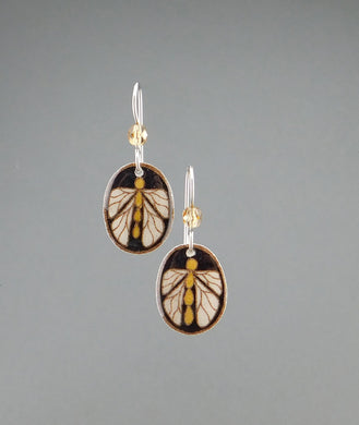 Black Goose Egg Shell Jewelry - Bug Earrings - Small