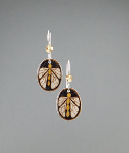 Black Goose Egg Shell Earrings - Bugs - Tiny