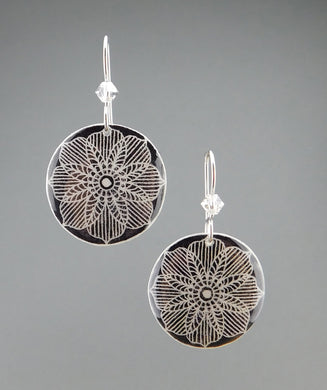 Black Goose Egg Shell Jewelry - Lace Earrings