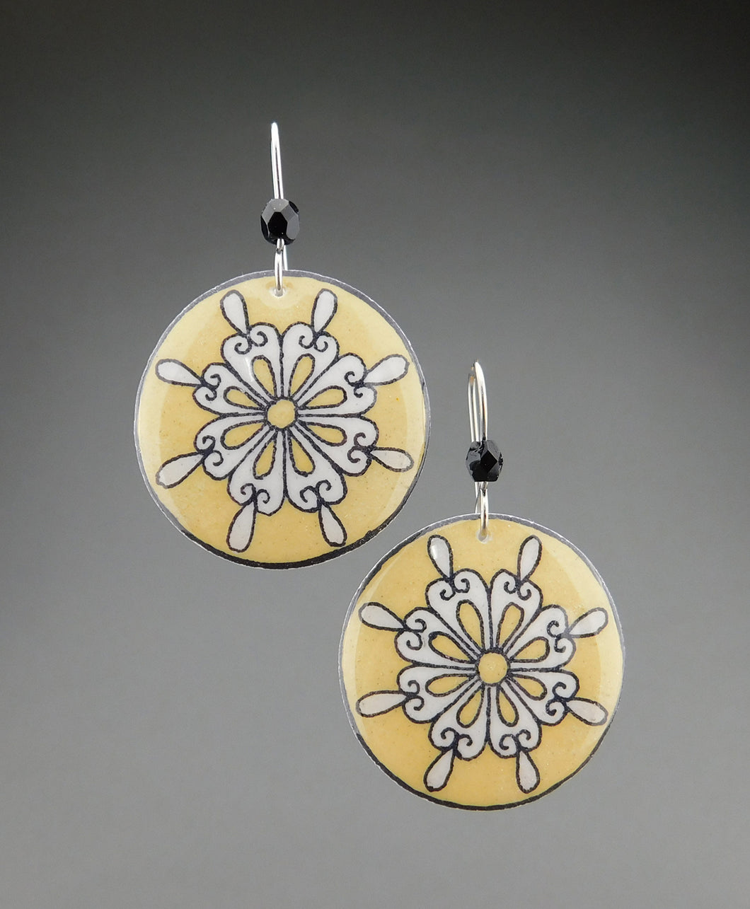 Yellow Goose Egg Shell Jewelry - Retro Flower Earrings