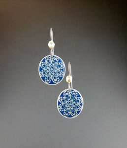 Blue Goose Egg Earrings - Navy Lace Flowers