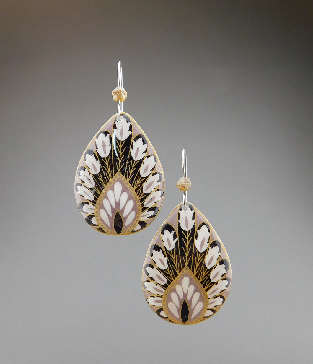 Grey Goose Egg Shell Jewelry - Peacock Earrings