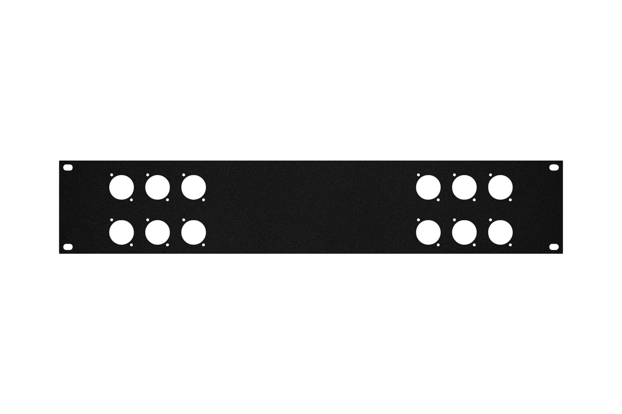 Elite Core RP2U-6X6 Rack Panel with 2 Groups of 6 D-Series Punch-Outs, 2U