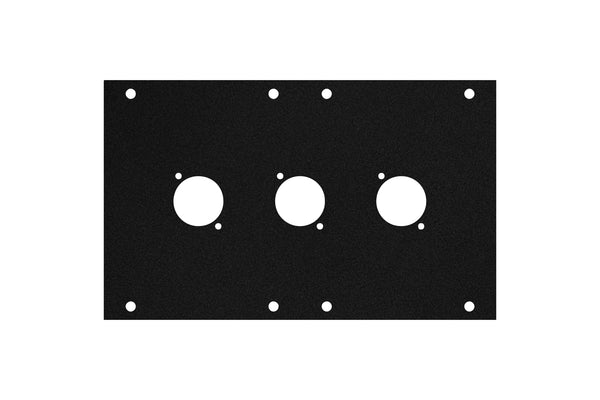 Elite Core ACE-PNL120-3D Black Metal Panel for Full Stage Pocket with 3 D-Series Punch-Outs