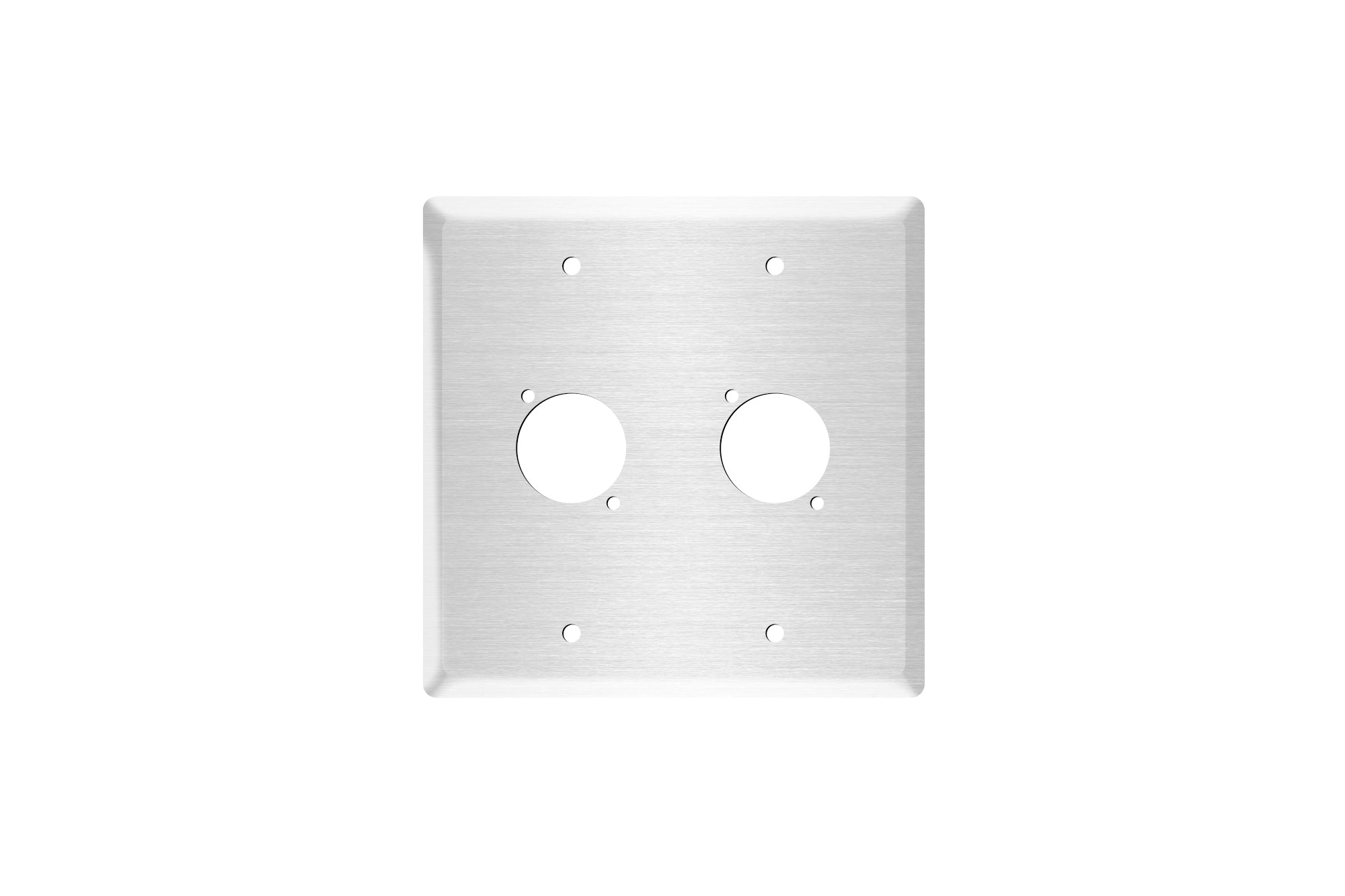 "OSP Q-2-BLANK Double Gang Stainless Wall Plate with 2 Series ""D"" Holes"