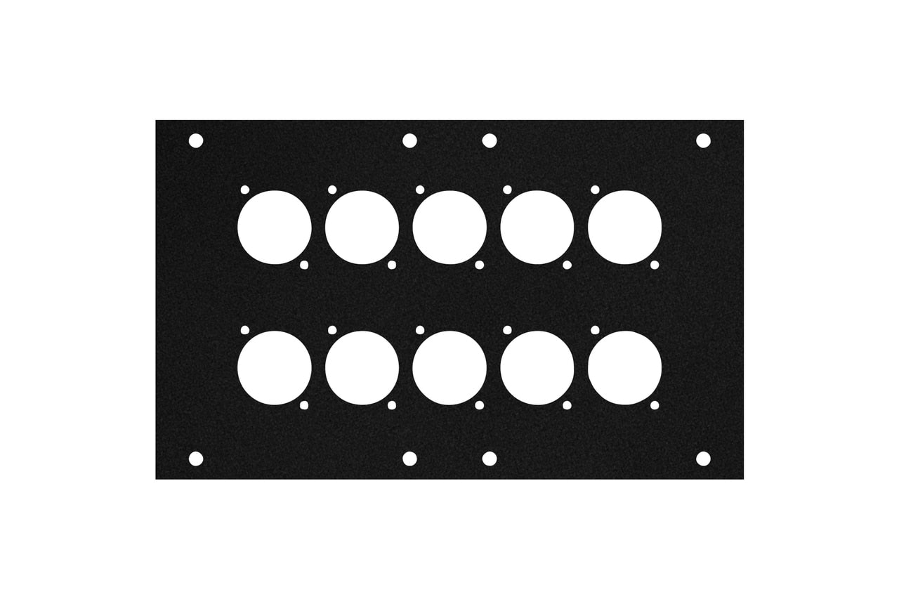 Elite Core ACE-PNL120-10D Black Metal Panel for Full Stage Pocket with 10 D-Series Punch-Outs