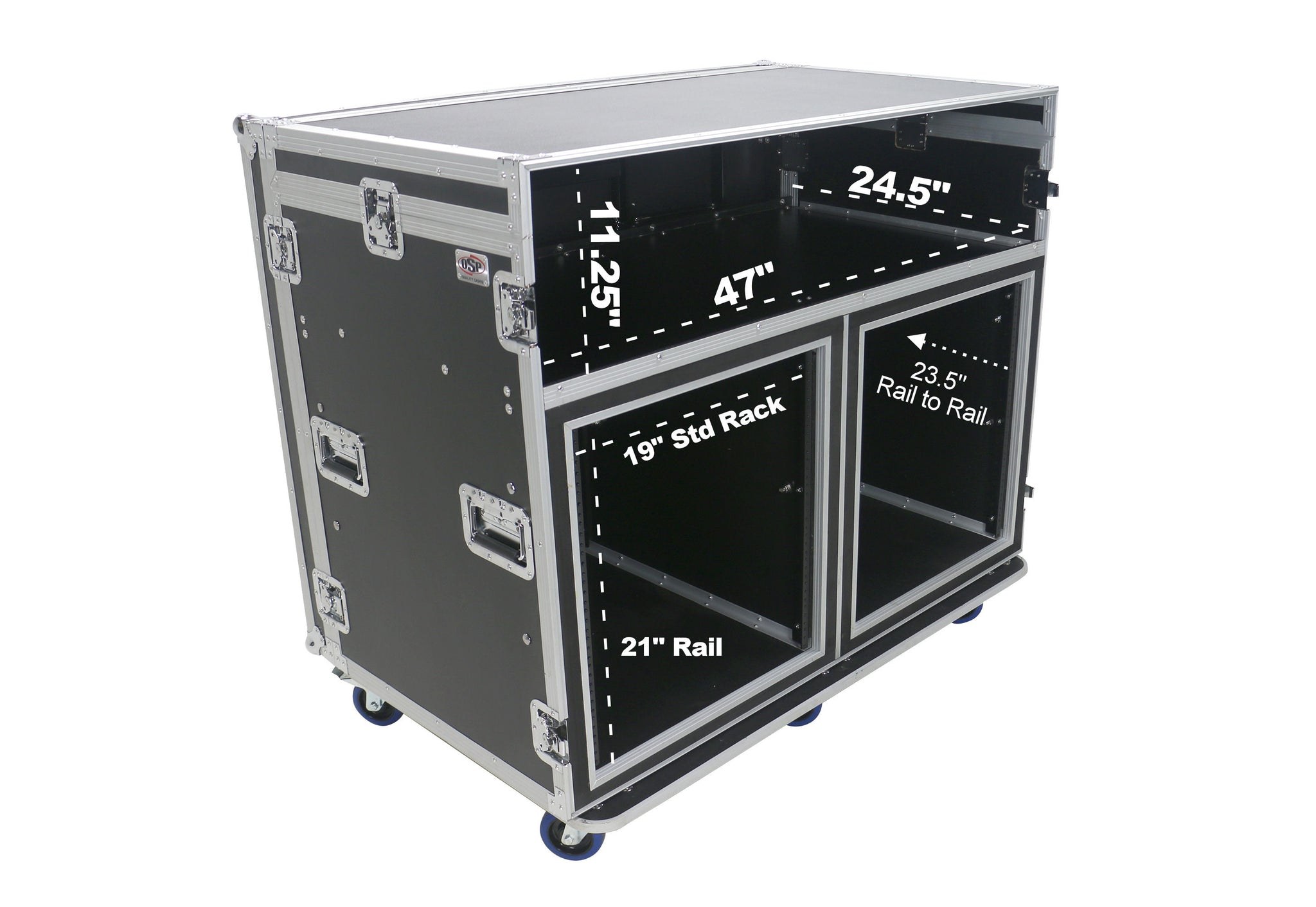 OSP ATA-FOH-2SL  Deluxe Front of House System w/dual 12U-Racks & Standing Lid Tables