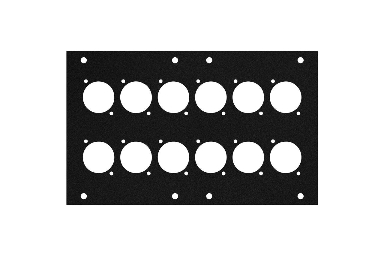 Elite Core ACE-PNL120-12D Black Metal Panel for Full Stage Pocket with 12 D-Series Punch-Outs