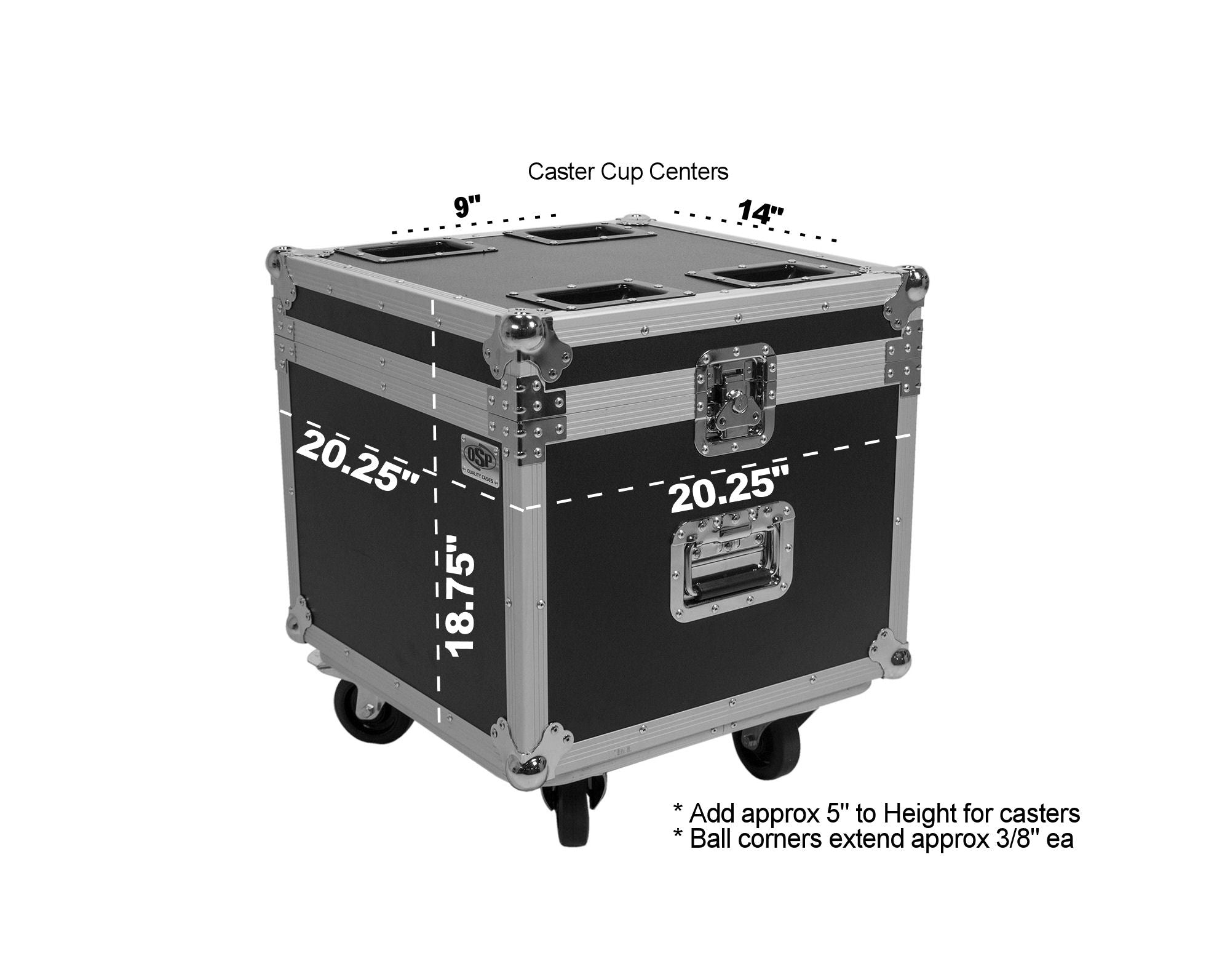 OSP PAR-CASE-4C Universal ATA Flight Case for 4 LED PAR CANS * Upgraded with Casters & Caster Cups *
