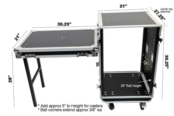 OSP RC16U-20SL 16 Space ATA Amp Rack w/Casters and Attached Utility Table