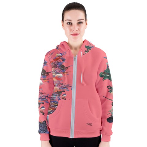 CREATION DESIGN PINK WOMEN'S ZIPPER HOODIE
