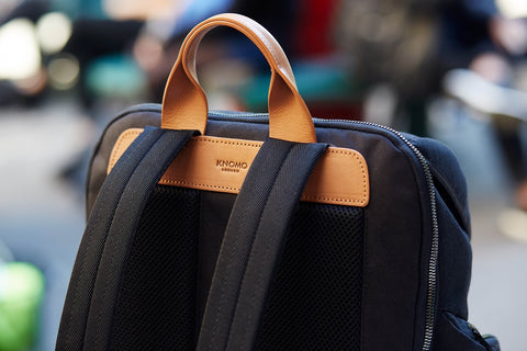 The #LiveFree Backpack, natural vegetable tan leather grab handle