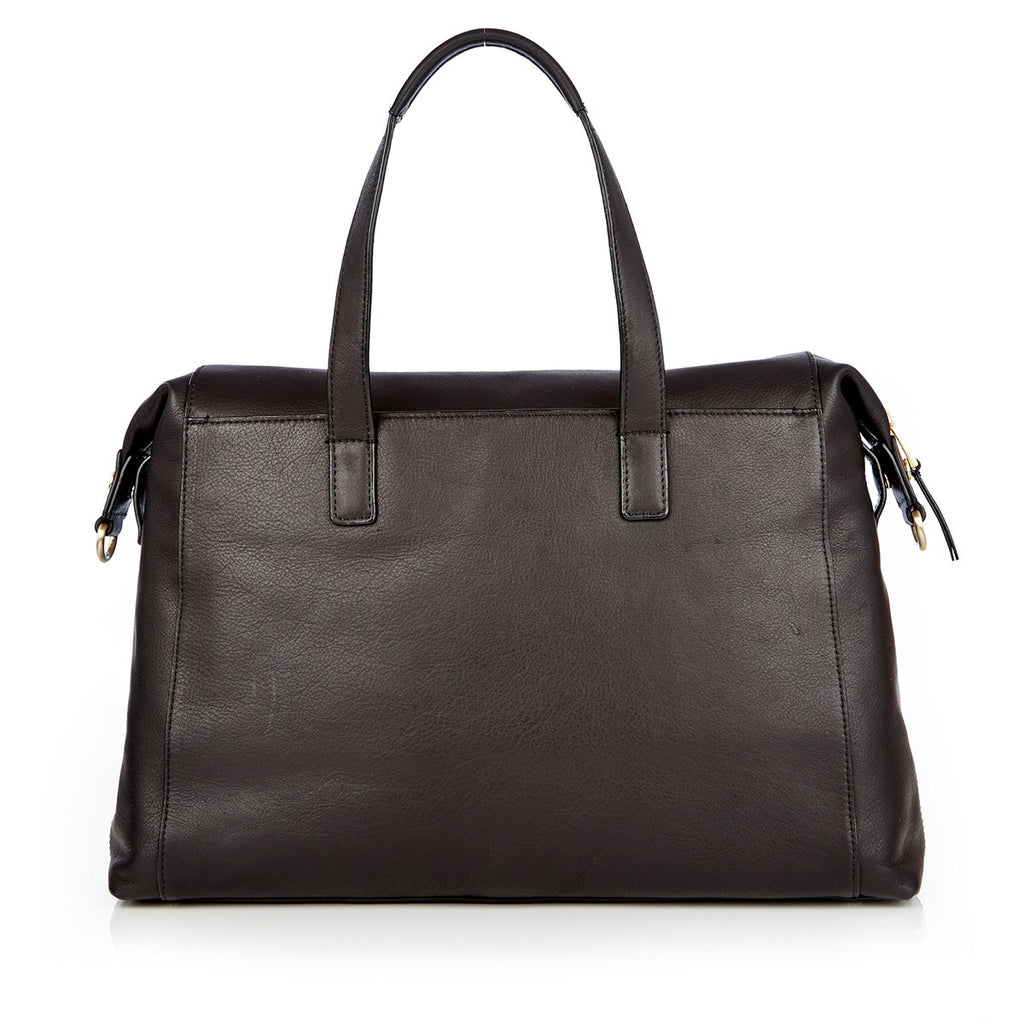"Audley Leather Laptop Handbag - 14"" -  Black"