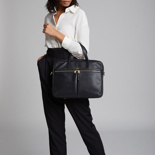 "KNOMO Hanover Leather Laptop Briefcase - 14"" Main Image 