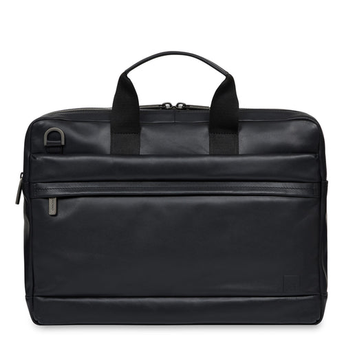 "KNOMO Roscoe Leather Laptop Briefcase - 15"" From Front 