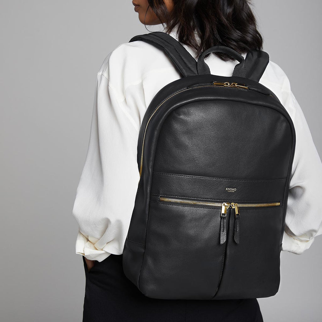 "Beaux Leather Laptop Backpack - 14"" -  Black"