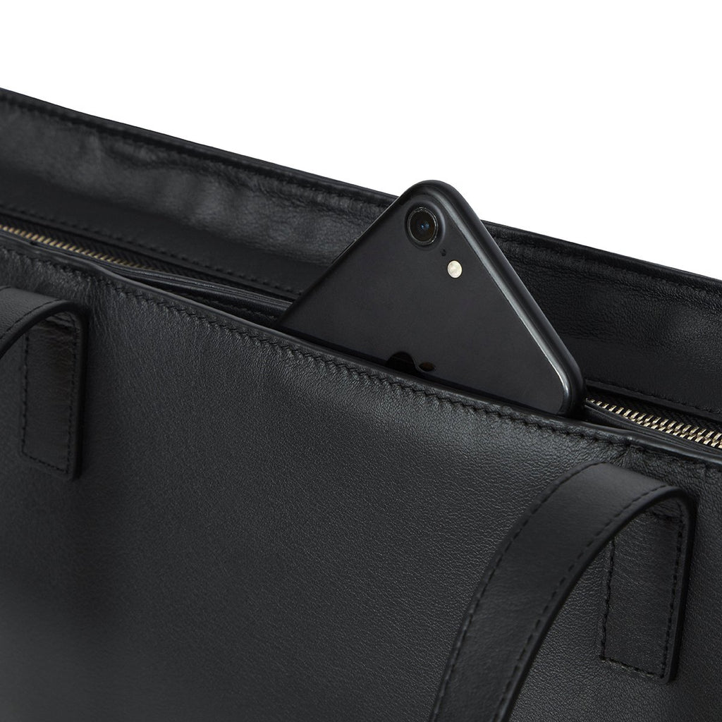 "Maddox Leather Laptop Tote Bag - 15"" -  Black"