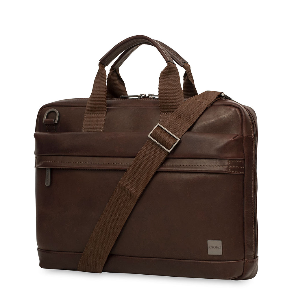 "Foster Leather Laptop Briefcase - 14"" -  Brown"