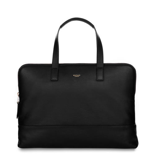 "KNOMO Reeves Leather Laptop Briefcase - 14"" From Front 