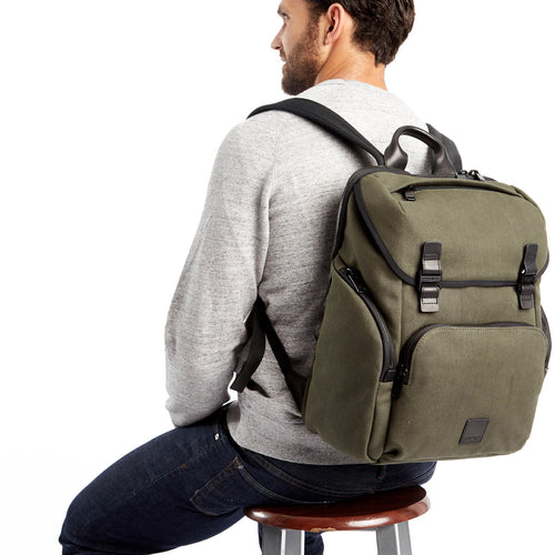"Laptop Backpack - 15"" (Wax Canvas) - Thurloe 