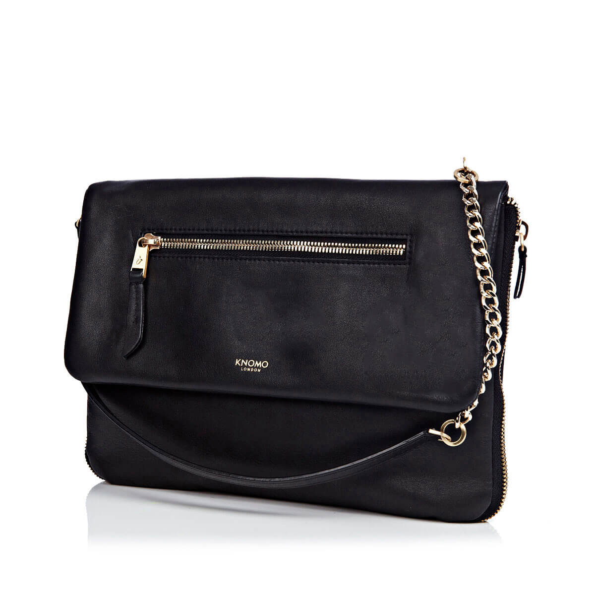 "Leather Elektronista Leather Cross-Body Clutch Bag - 10"" -  Black 