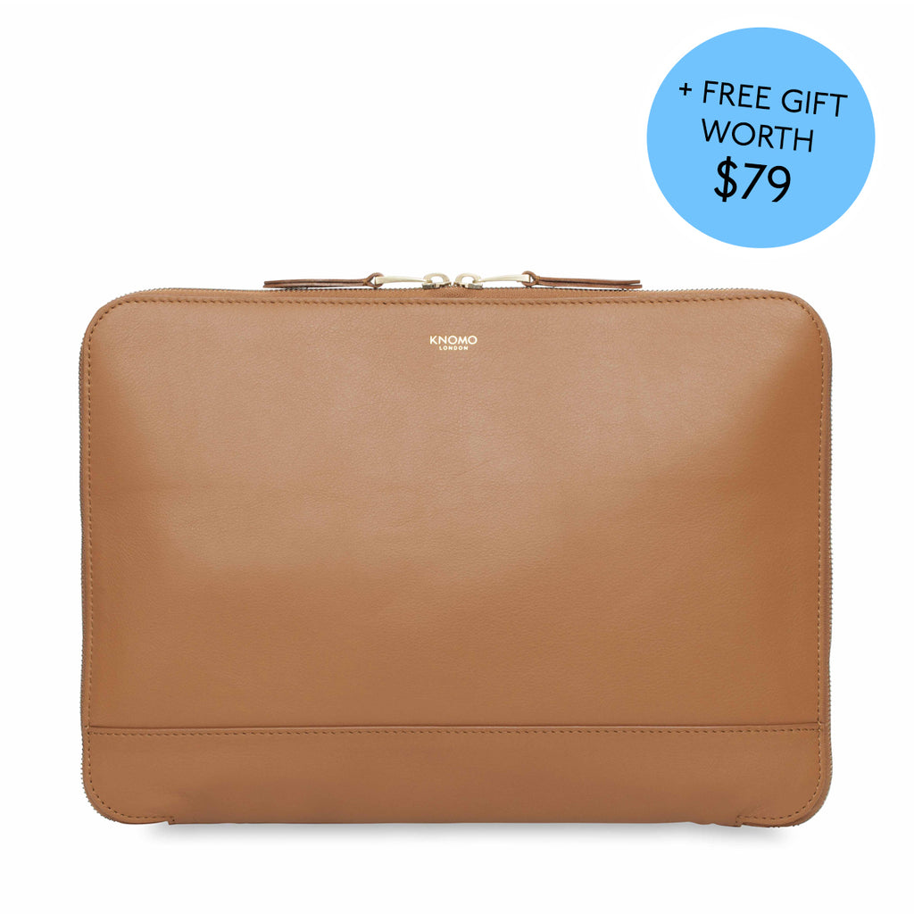 "Leather Clutch Bag - 12"" - Caramel with 10K mAh Battery"