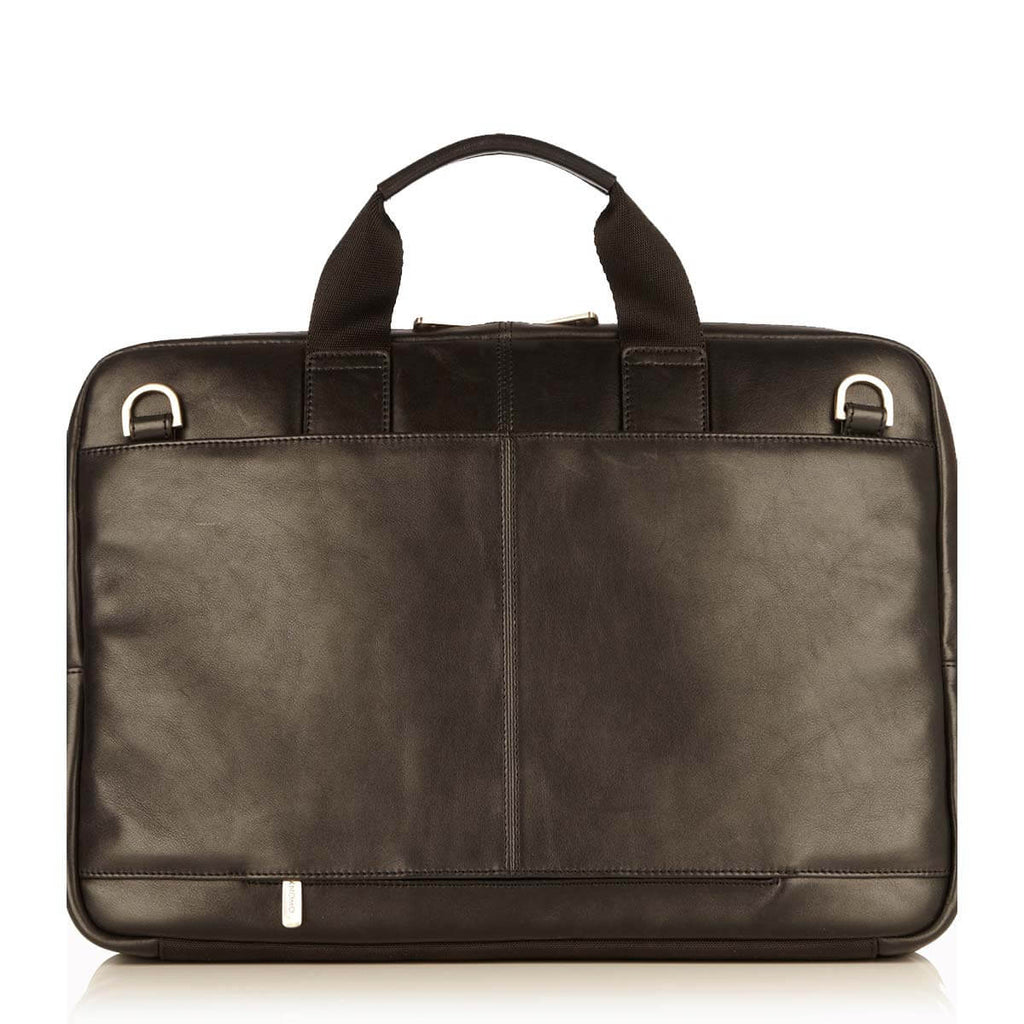 "Newbury Leather Laptop Briefcase - 15"" -  Black"