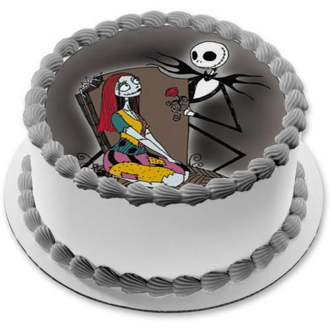 Nightmare Before Christmas Jack Skellington Emily Red Rose Edible Cake Topper Image ABPID24415