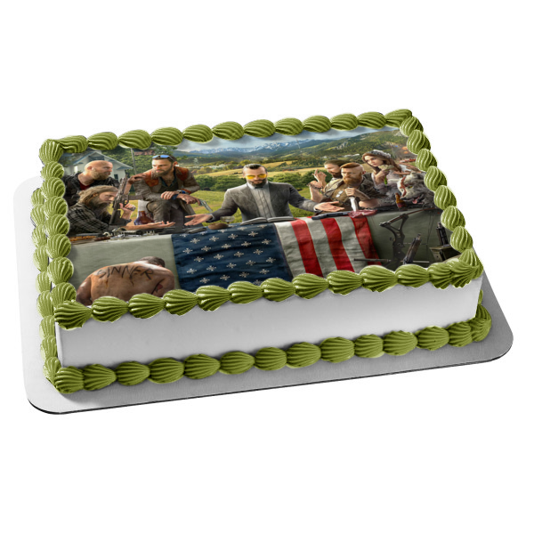 Far Cry 5 Joseph Seed Faith Seed John Seed Jacob Seed Nick Rye American Flag Wolf Edible Cake Topper Image ABPID27212