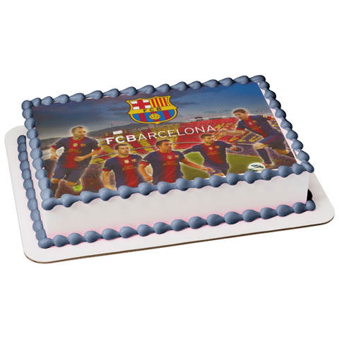 Fcb Barcelona Logo Barça Football Players Soccer Edible Cake Topper Image ABPID24123